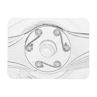 Black and White Airplane Sketch Propeller Magnet