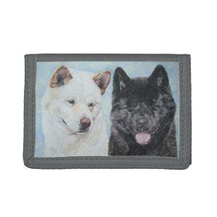 black and white akita realist dog portrait design tri-fold wallet