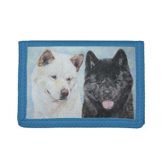 black and white akita realist dog portrait design trifold wallets