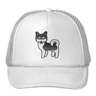 Black And White Alaskan Klee Kai Cartoon Dog Trucker Hat