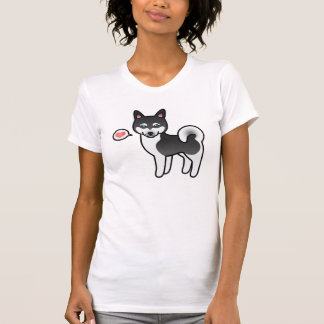 Black And White Alaskan Klee Kai Dog With A Heart T-Shirt