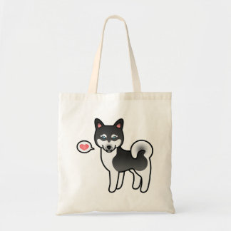 Black And White Alaskan Klee Kai Dog With A Heart Tote Bag
