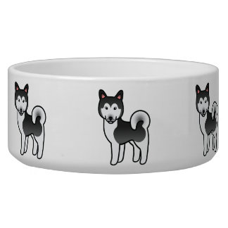 Black And White Alaskan Malamute Cartoon Dog Bowl