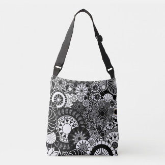 Black and White All Over Digital Abstract Crossbody Bag
