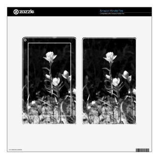 Black and White Alpine Flowers Kindle Fire Skin