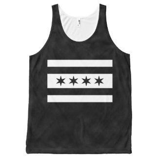 Black and White Alternate Chicago Flag All-Over-Print Tank Top