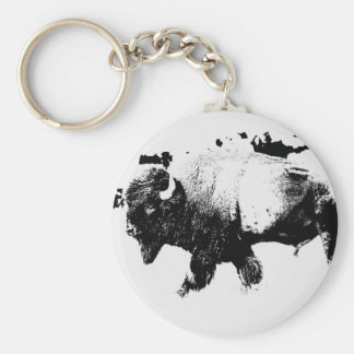 Black and White American Bison Buffalo Keychains