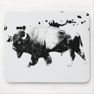 Black and White American Bison Buffalo Mouse Pad