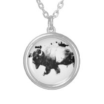 Black and White American Bison Buffalo Silver Plated Necklace