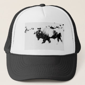 Black and White American Bison Buffalo Trucker Hat