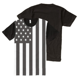 Black and White American Flag All-Over-Print Shirt