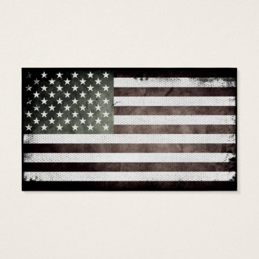 USA Themed Black and White American Flag Business Card
