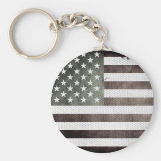 Black and White American Flag Keychain