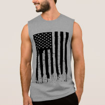 Black And White American Flag Sleeveless Shirt