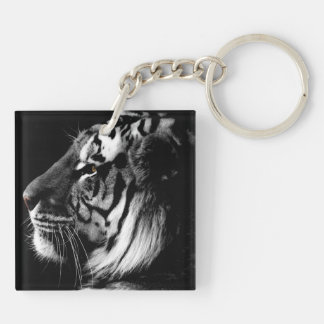 Black and White Amur Tiger square keychain