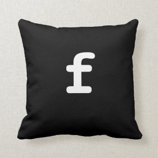 Black and white Anagram Pillow Lowercase Letter f
