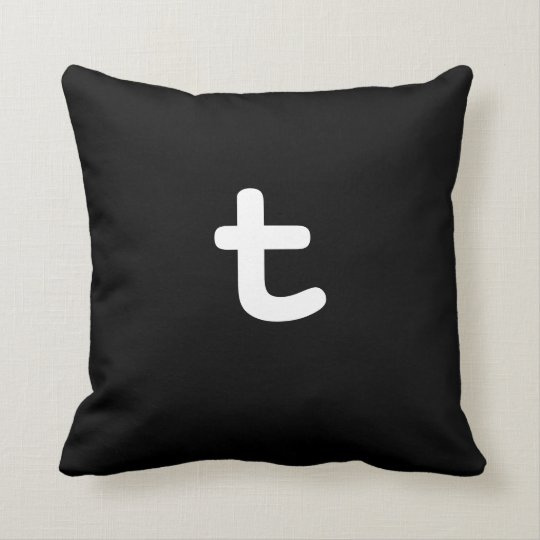 Black and white Anagram Pillow Lowercase Letter t