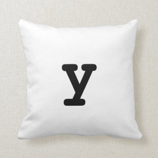Black and white Anagram Pillow Lowercase Letter y