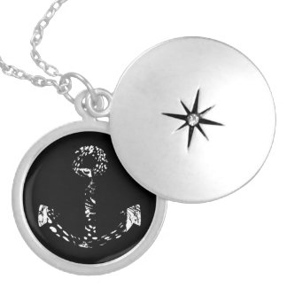 Black and white Anchor Fine Art Locket Necklace