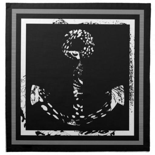 Black and white Anchor Fine Art Napkin