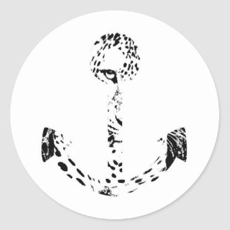 Black and White Anchor Leopard Eye Overlay Classic Round Sticker