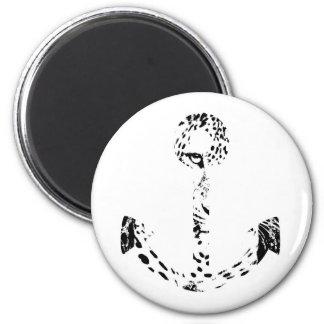 Black and White Anchor Leopard Eye Overlay Fridge Magnet