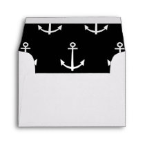 Black and White Anchors Pattern 1 Envelope