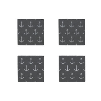 Black and White Anchors Pattern 1 Stone Magnet