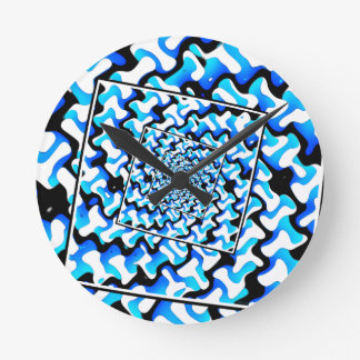 Black And White And Blue Round Clock