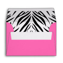 Black and White and Hot Pink Zebra Print Envelope