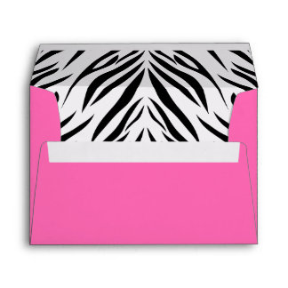 Black and White and Hot Pink Zebra Print Envelopes