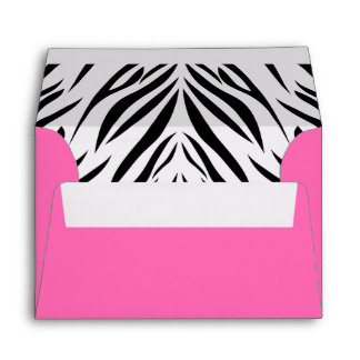 Black and White and Hot Pink Zebra Print Envelopes