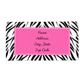 Black and White and Hot Pink Zebra Print Shipping Label