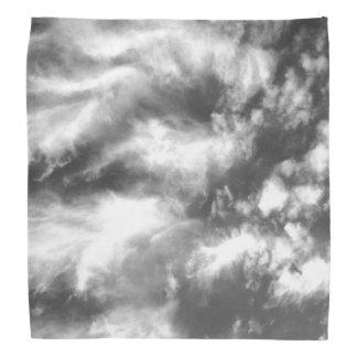 Black and White Angel Wing Clouds Bandana