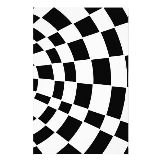 Black and White Angled Checkerboard Stationery Paper
