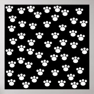 Black and White Animal Paw Print Pattern.