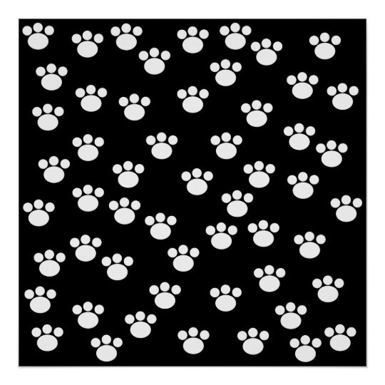 Black and White Animal Paw Print Pattern.