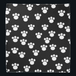 "Black and White Animal Paw Print Pattern. Bandana<br><div class=""desc"">White paw print pattern on a black background.</div>"
