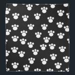 "Black and White Animal Paw Print Pattern. Bandana<br><div class=""desc"">White paw print pattern on a black background.</div>"