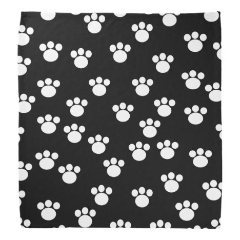 Black and White Animal Paw Print Pattern. Bandana