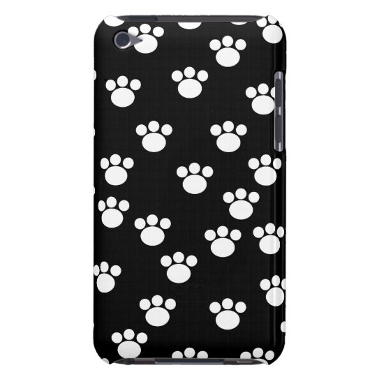 Black and White Animal Paw Print Pattern. Barely There iPod Cover