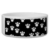 Black and White Animal Paw Print Pattern. Bowl