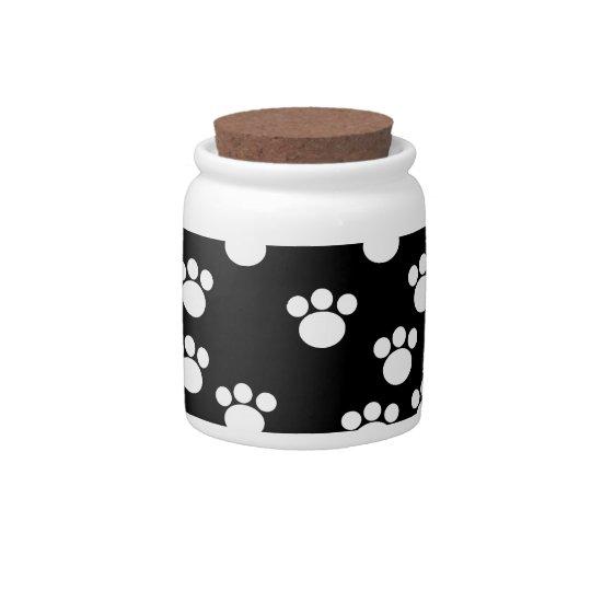 Black and White Animal Paw Print Pattern. Candy Dish