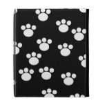 Black and White Animal Paw Print Pattern. iPad Folio Cover