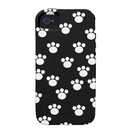 Black and White Animal Paw Print Pattern. Vibe iPhone 4 Cases