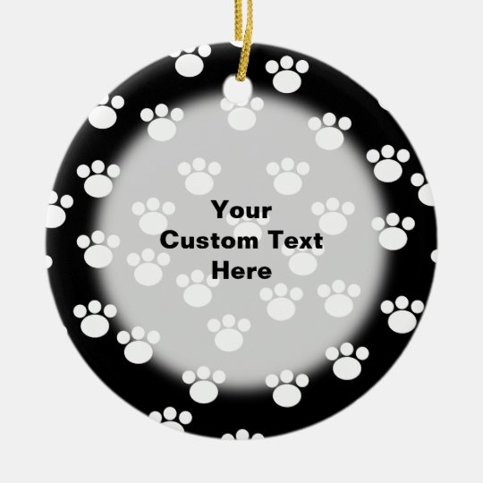 Black and White Animal Paw Print Pattern. Ceramic Ornament