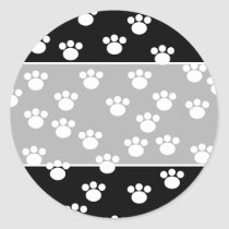 Black and White Animal Paw Print Pattern. Classic Round Sticker