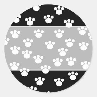 Black and White Animal Paw Print Pattern. Classic Round Sticker