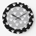 Black and White Animal Paw Print Pattern. Wall Clock