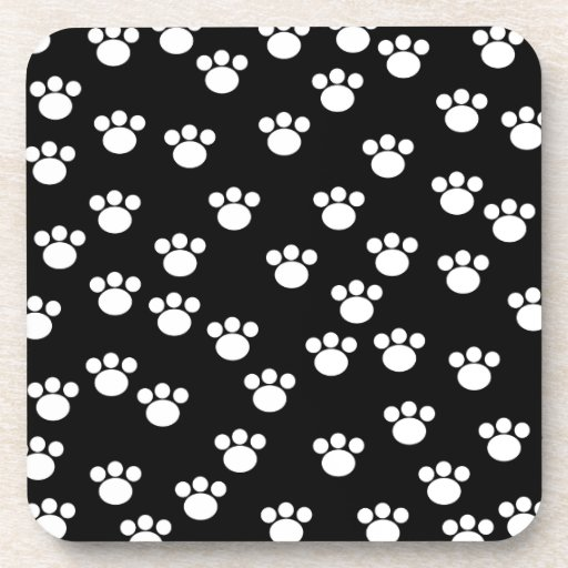 Black and White Animal Paw Print Pattern. Beverage Coasters